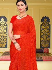 Faux Chiffon Abstract Print Printed Saree in Red