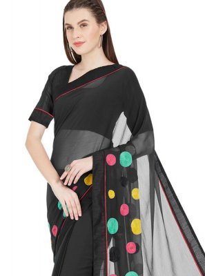 Faux Chiffon Black Printed Saree