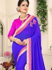 Faux Chiffon Blue Patch Border Saree