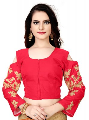 Faux Chiffon Designer Blouse in Red