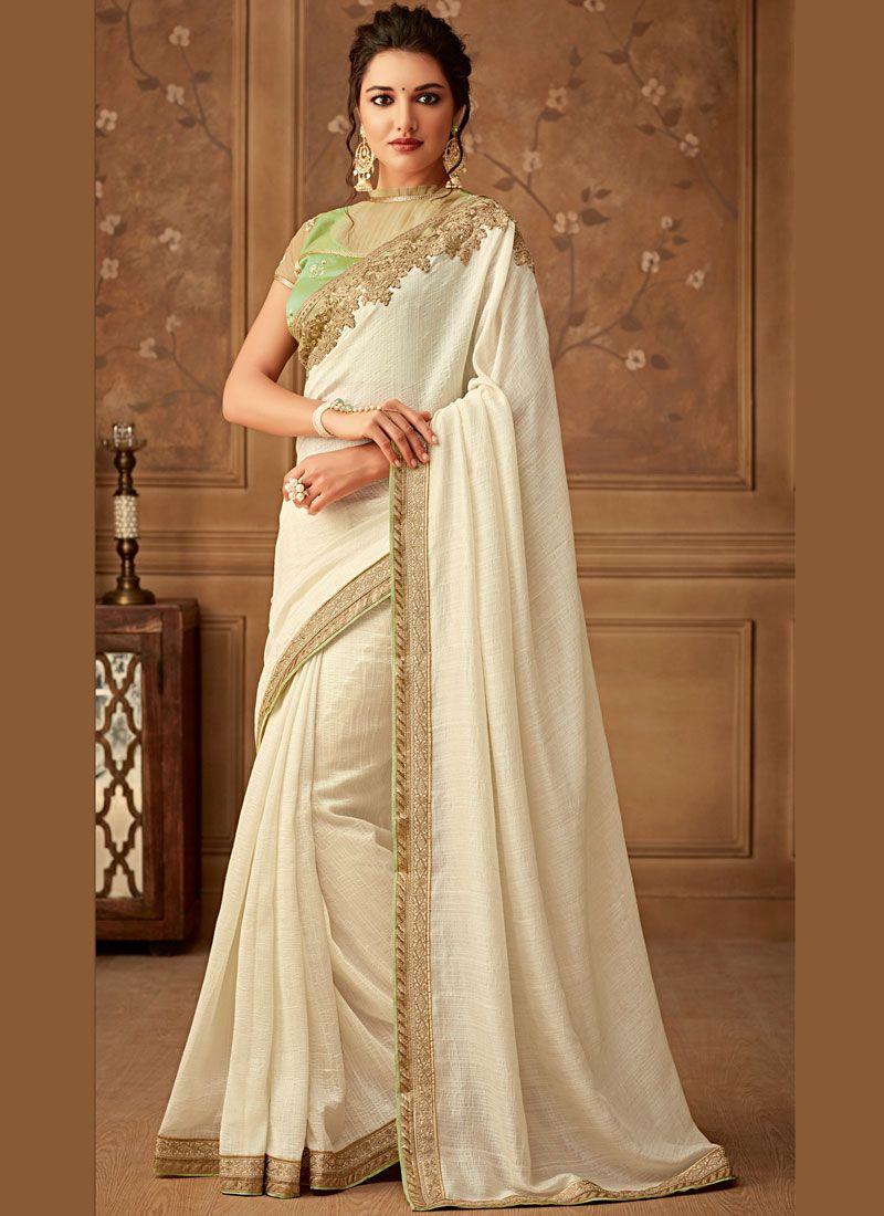 9239ec1d43 Buy Faux Chiffon Designer Saree in Off White Online : 112720 -