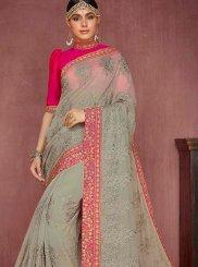 Faux Chiffon Designer Traditional Saree in Grey