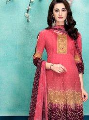 Faux Chiffon Digital Print Designer Salwar Suit in Pink