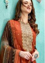 Faux Chiffon Digital Print Orange Designer Salwar Suit