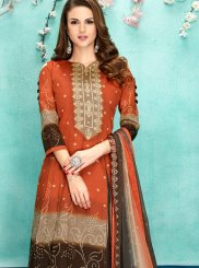 Faux Chiffon Digital Print Orange Designer Salwar Suit
