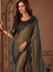 Faux Chiffon Embroidered Black Classic Designer Saree
