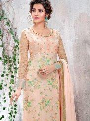 Faux Chiffon Embroidered Designer Salwar Kameez