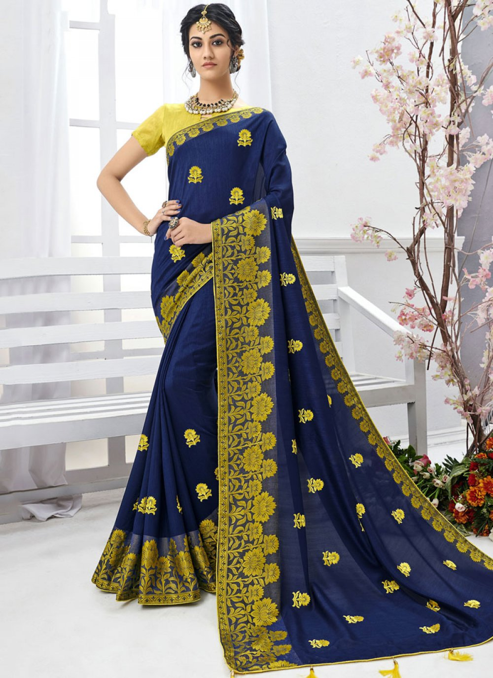 Faux Chiffon Embroidered Designer Saree in Navy Blue