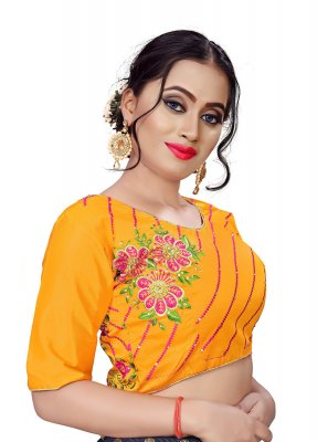 Faux Chiffon Embroidered Mustard Designer Blouse