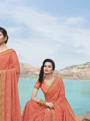 Faux Chiffon Embroidered Peach Classic Saree