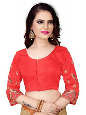 Faux Chiffon Embroidered Red Designer Blouse