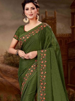 Faux Chiffon Embroidered Saree