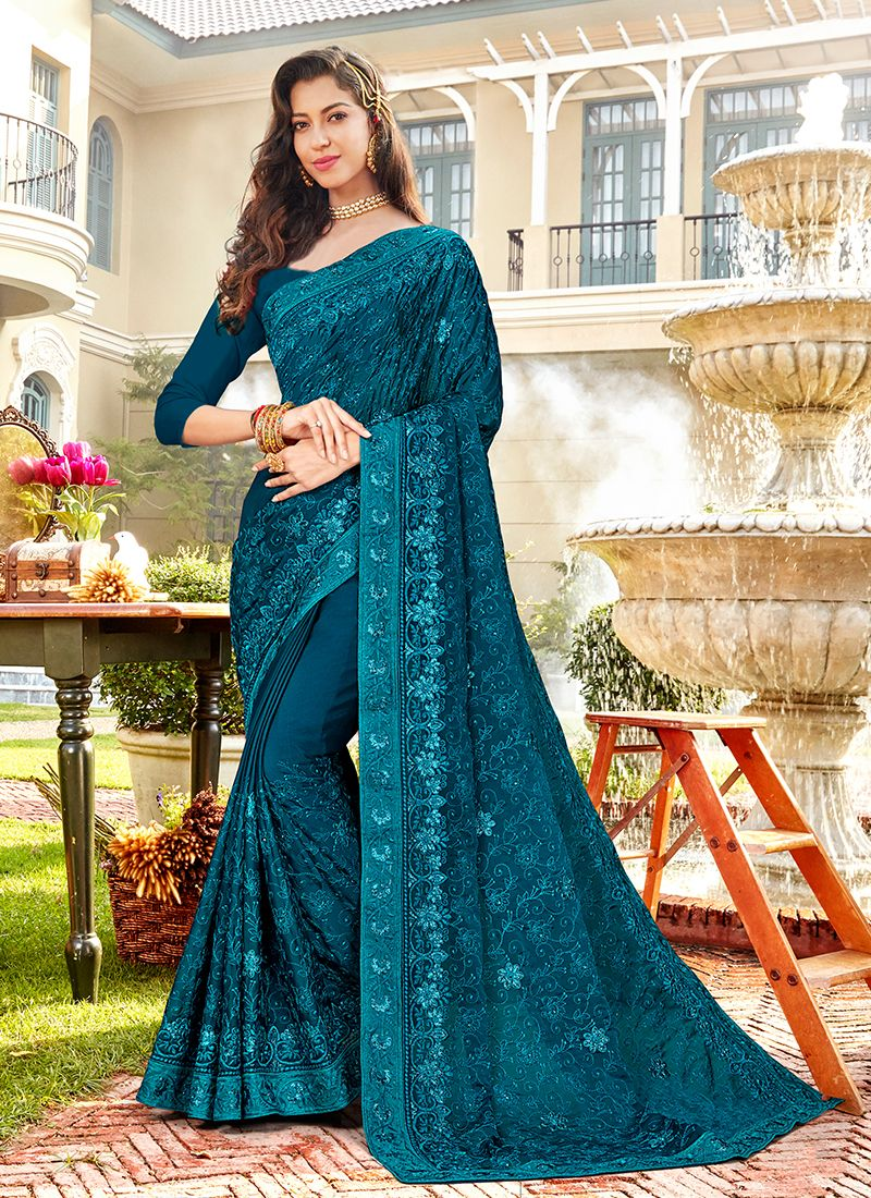 Faux Chiffon Embroidered Teal Classic Designer Saree