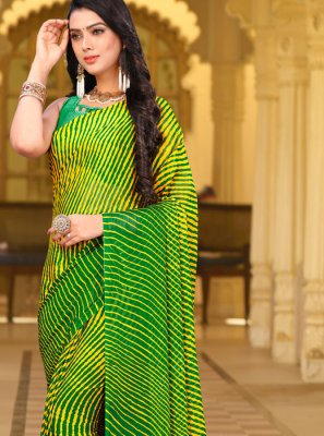Faux Chiffon Green Abstract Print Printed Saree