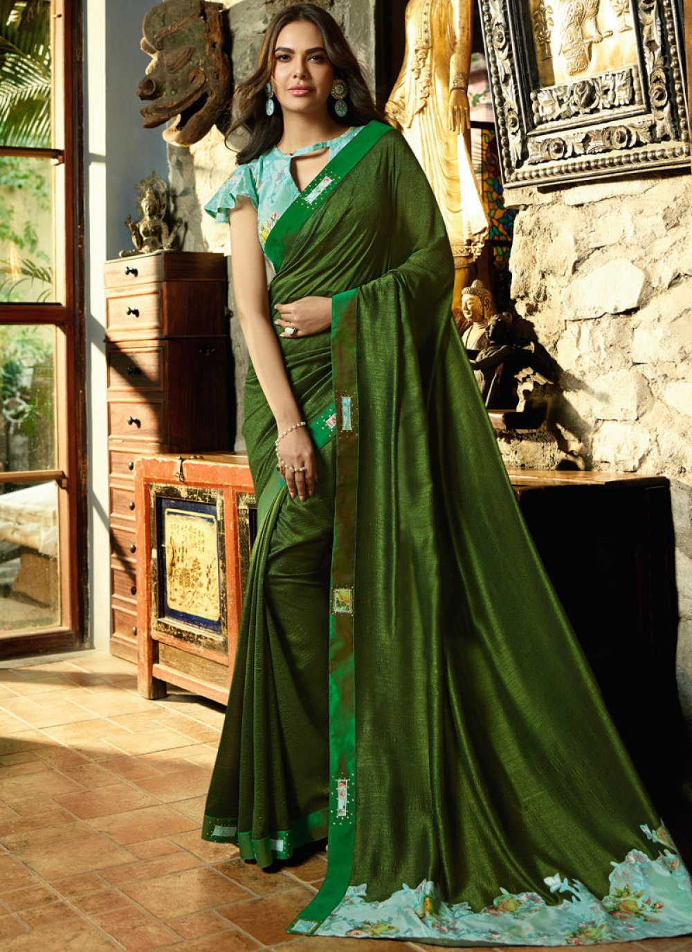 Faux Chiffon Green Embroidered Traditional Saree