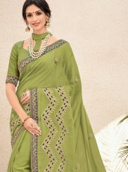 Faux Chiffon Green Sequins Trendy Saree