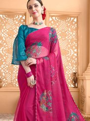 Faux Chiffon Hot Pink Casual Saree