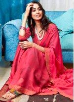 Faux Chiffon Hot Pink Classic Designer Saree