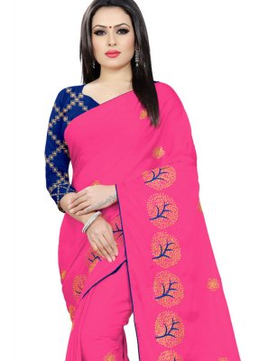 Faux Chiffon Hot Pink Classic Saree