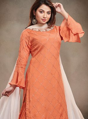 Faux Chiffon Lace Orange Designer Salwar Suit