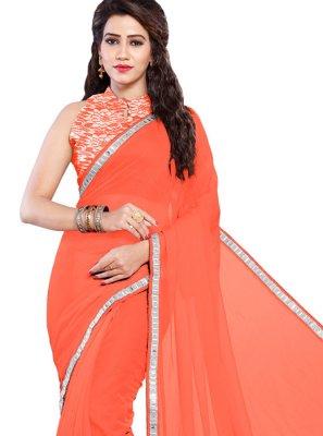 Faux Chiffon Lace Orange Trendy Saree