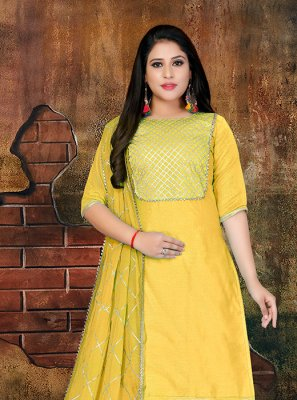 Faux Chiffon Lace Yellow Designer Salwar Kameez