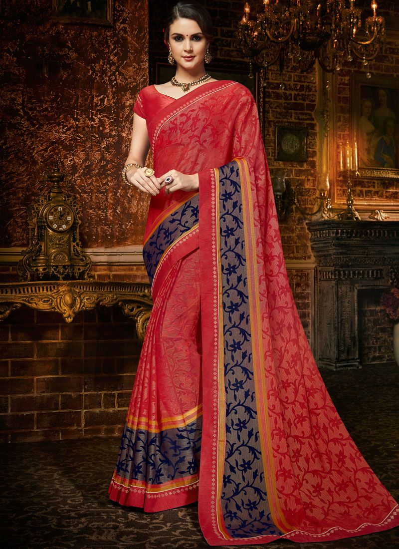 Faux Chiffon Multi Colour Printed Saree