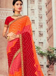 Faux Chiffon Orange and Red Classic Designer Saree
