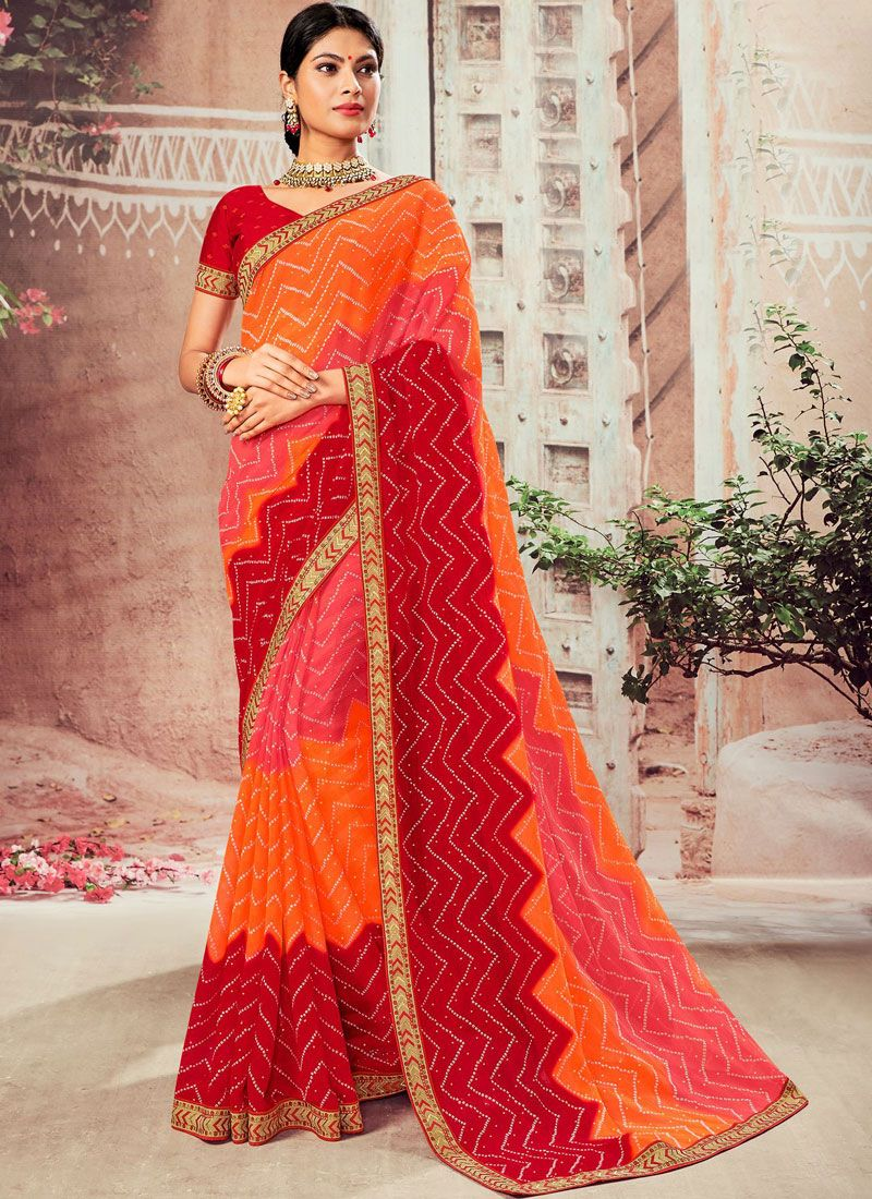 Faux Chiffon Orange and Red Classic Designer Saree