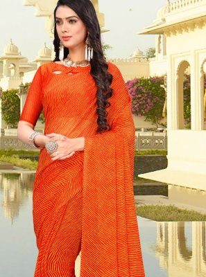 Faux Chiffon Orange Printed Saree