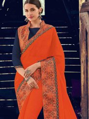 Faux Chiffon Orange Traditional Saree
