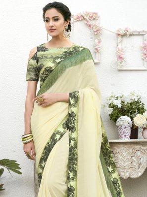 Faux Chiffon Patch Border Classic Designer Saree in Green