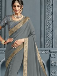 Faux Chiffon Patch Border Grey Traditional Saree
