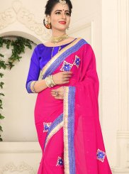 Faux Chiffon Patch Border Hot Pink Classic Saree