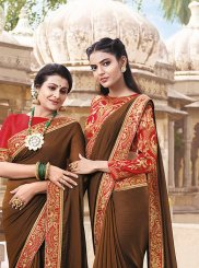 Faux Chiffon Patch Border Saree in Brown