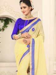 Faux Chiffon Patch Border Saree in Yellow