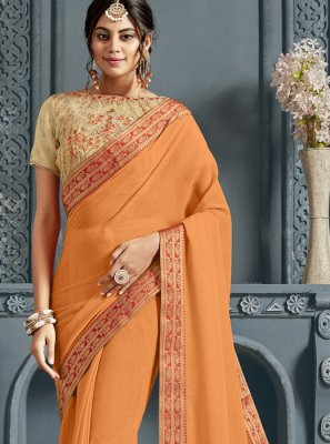 Faux Chiffon Patch Border Traditional Saree