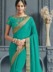 Faux Chiffon Patch Border Trendy Saree