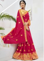 Faux Chiffon Pink Embroidered Designer Saree
