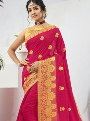 Faux Chiffon Pink Embroidered Designer Saree