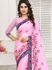 Faux Chiffon Pink Patch Border Classic Designer Saree