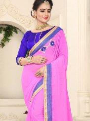 Faux Chiffon Pink Patch Border Classic Saree