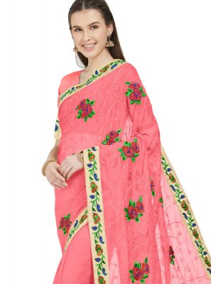 Faux Chiffon Pink Patch Border Printed Saree