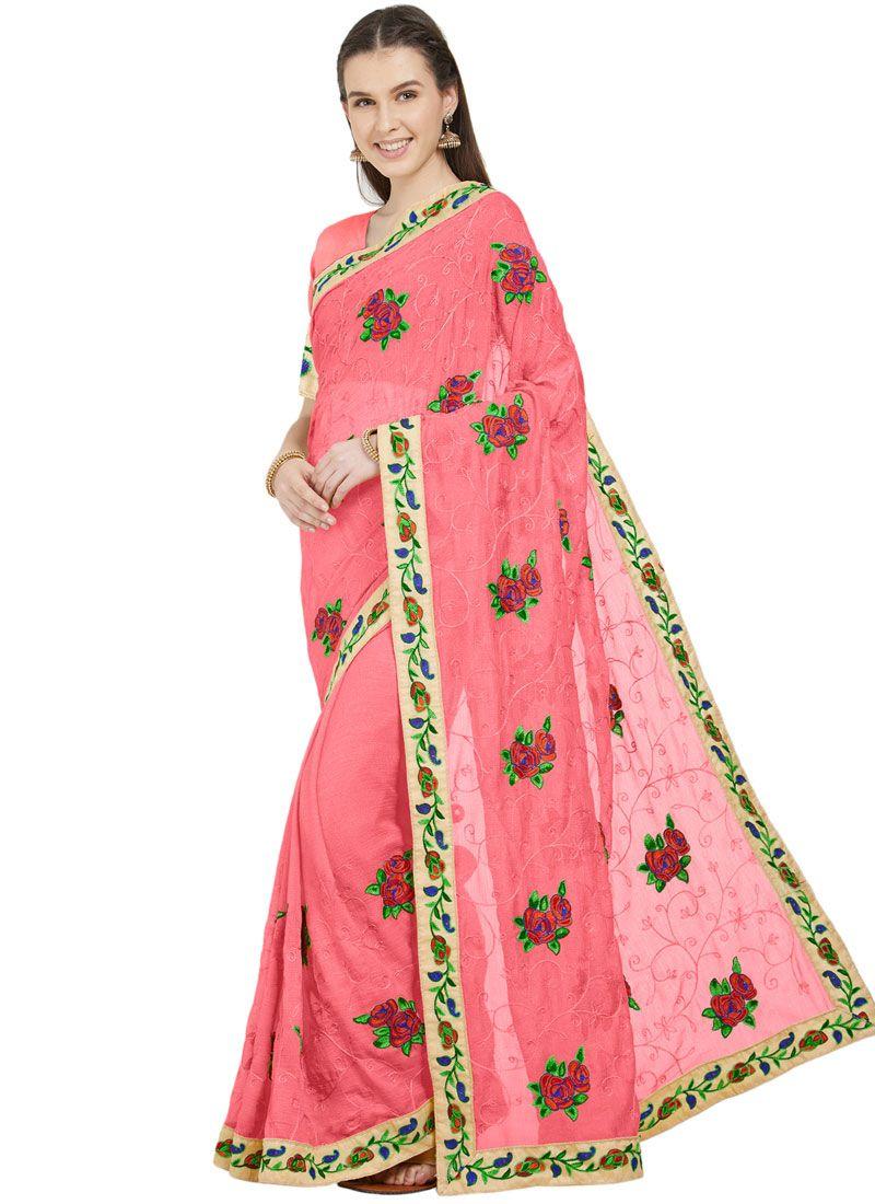 Faux Chiffon Pink Patch Border Printed Saree