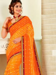 Faux Chiffon Print Yellow Shaded Saree