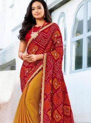 Faux Chiffon Printed Maroon and Yellow Trendy Saree