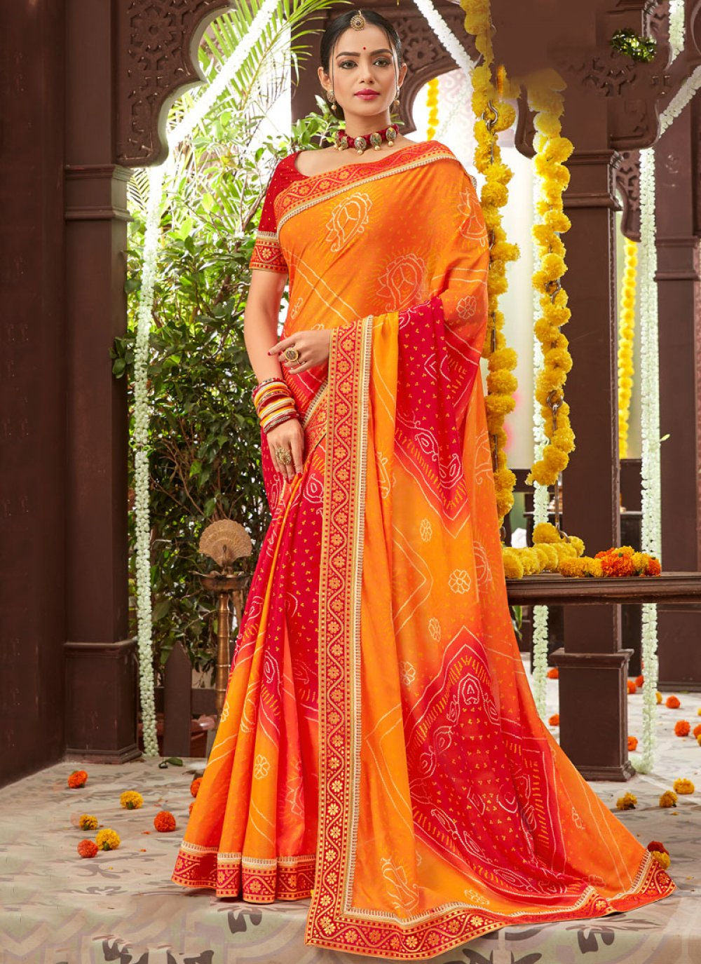 Faux Chiffon Printed Orange Classic Saree