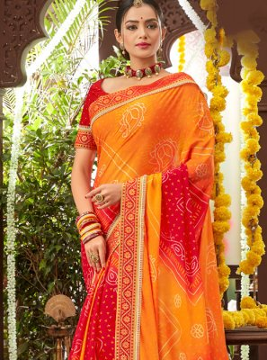 Faux Chiffon Printed Orange Classic Saree