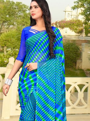 Faux Chiffon Printed Saree in Blue