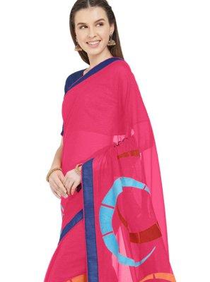 Faux Chiffon Printed Saree in Hot Pink